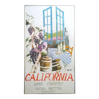 "Noal Betts Vintage 1980's "" California Wine Country "" Lithograph Print Framed Travel Poster For Sale"