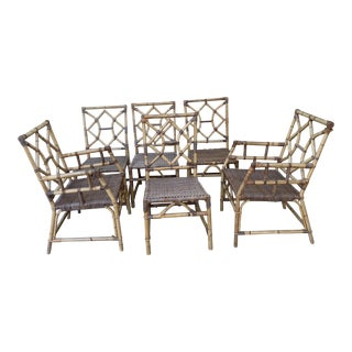 Boho Midcentury Bamboo Rattan Chairs, Set of Six For Sale