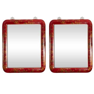 Chinoiserie Red Lacquered Mirrors - a Pair For Sale