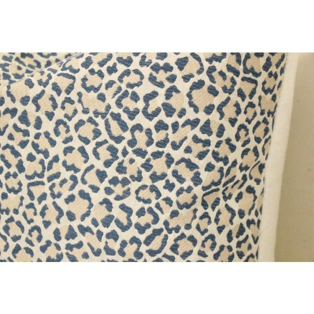 2010s Dusty Blue Linen Leopard Pillows, Pair For Sale - Image 5 of 6