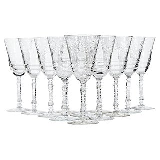 Art Deco Floral Etched Wine Stems, Set of 12 For Sale