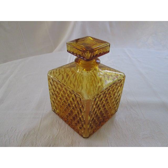 Vintage Amber Glass Diamond Cut Decanter - Image 2 of 4
