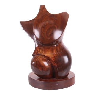 Vintage Abstract Wood Torso Sculpture 16 High, Carved Solid Walnut For Sale