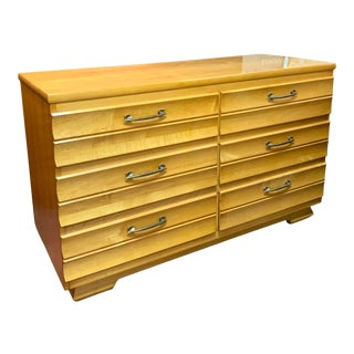 1960s Kling Mid-Century Modern Blonde Solid Curly Maple Dresser For Sale