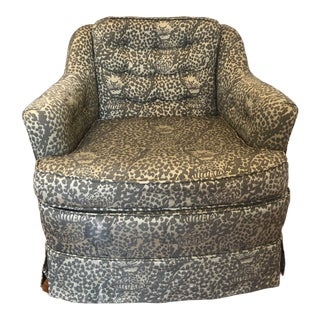 Mid Century Leopard Print Accent Chair For Sale