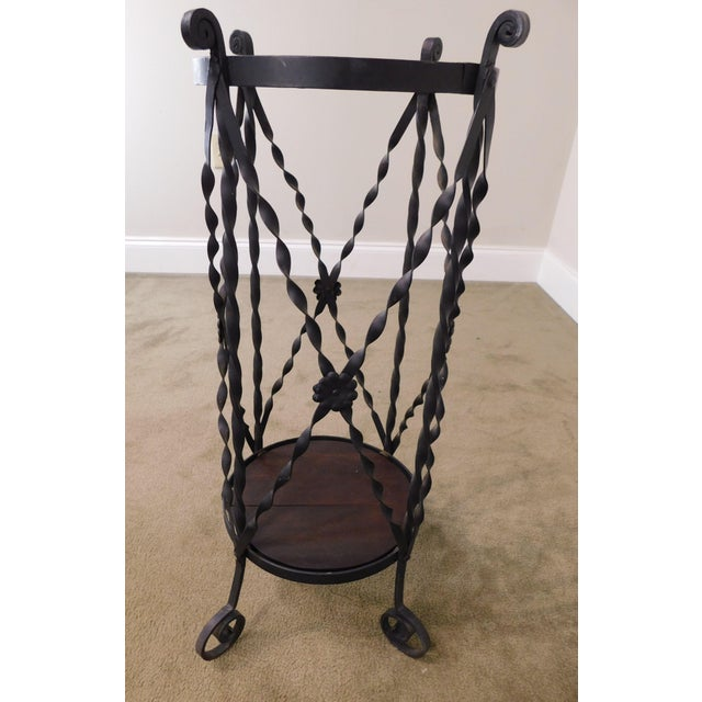 Aesthetic Antique Hand Wrought Iron Umbrella Stand For Sale - Image 11 of 13