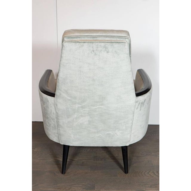 Pair of Mid-Century Armchairs in Smoked Platinum Velvet and Ebonized Walnut For Sale - Image 4 of 9