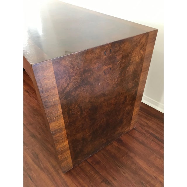 Vintage Burl Wood Parsons Writing Desk by Hekman Furniture Company For Sale - Image 10 of 12