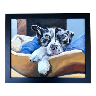 Contemporary Rescue Dog Oil Portrait For Sale