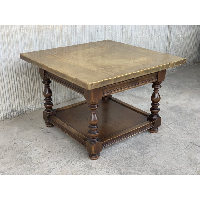 19th Spanish Zinc Top Coffe or Center Table With Turned Legs and Lower Tray For Sale - Image 11 of 12