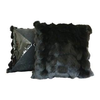 Black Fox Pillows - a Pair
