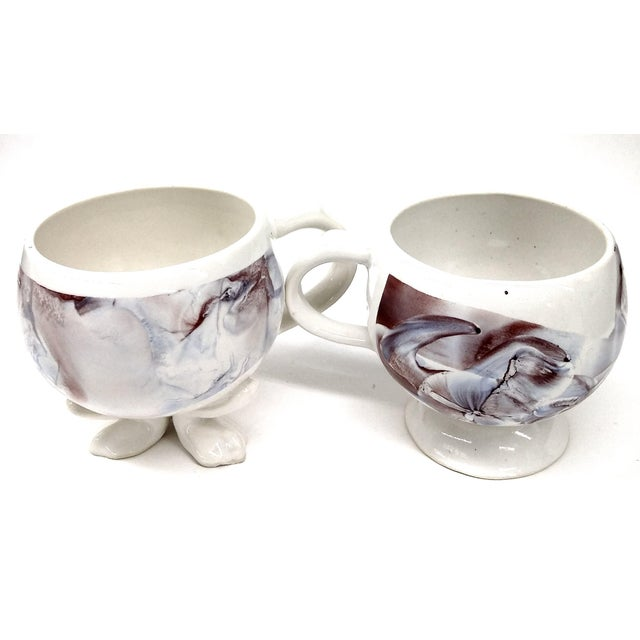 Unique Vintage His and Her Marble Painted Cup Set - a Pair - Image 3 of 7