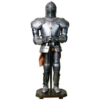Medieval Style Suit of Fully Articulating Armor With Sword on Display Stand For Sale