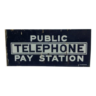 "1930s Vintage Porcelain 2-Sided Sign - ""Public Telephone - Pay Station"" For Sale"
