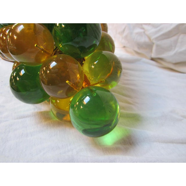 Brass Vintage Grape Cluster Acrylic Pendant Light For Sale - Image 7 of 12