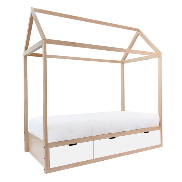 The Domo Zen Twin Maple Wood Canopy Bed with Drawers. Custom craftsmanship designed to last for generations and grow with...