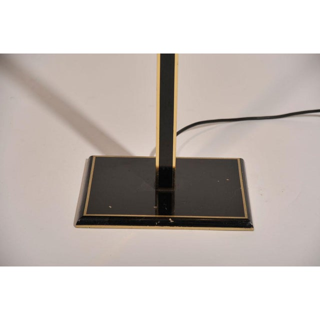 1970s Italian Tall Brass & Black Lacquer Torchiere Lamp For Sale - Image 5 of 6