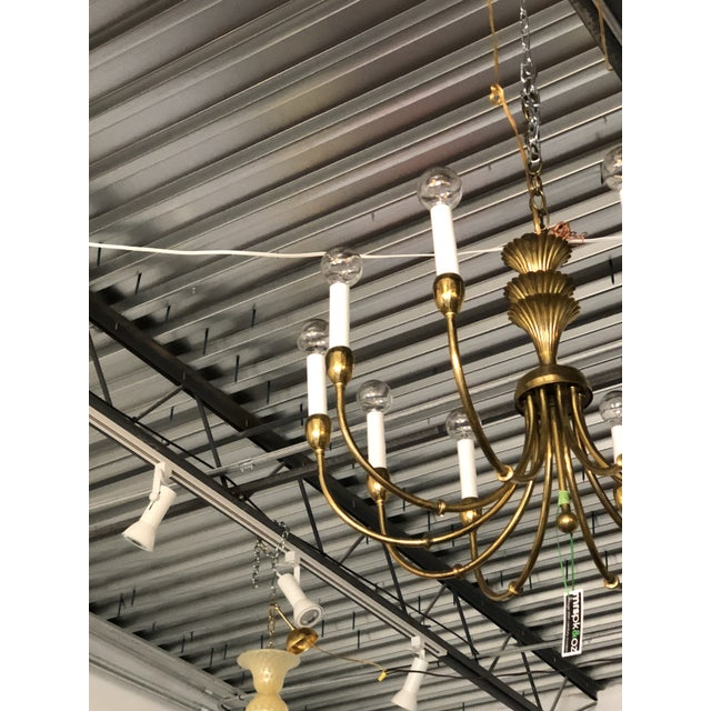 Mid-Century Modern Brass Chandelier in the Manner of Tommi Parzinger - Image 11 of 11