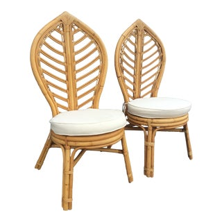 1970s Vintage Rattan Tropical Leaf Back Chairs- A Pair For Sale