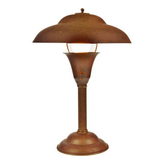 Early Mid Century Modern Metal Flying Saucer Desk Table Lamp