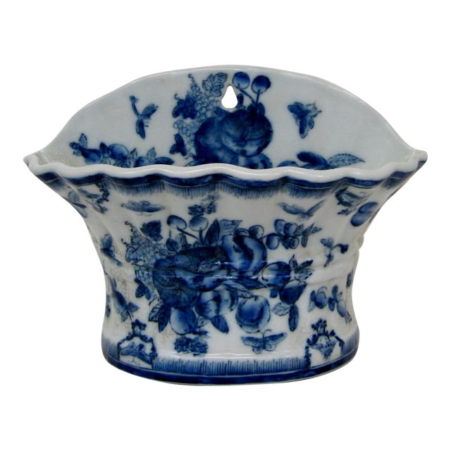 Blue & White Porcelain Wall Pocket Planter - Image 1 of 7