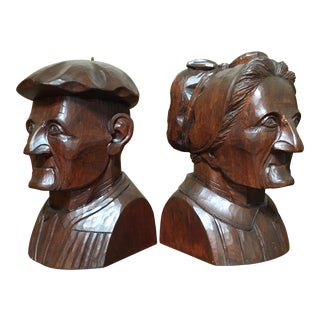 Hand Carved Mahogany Bookends - A Pair For Sale