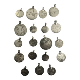 Vintage Indian Coin Silver Hindu Blessing Amulets in Sanskrit - Set of 19 For Sale