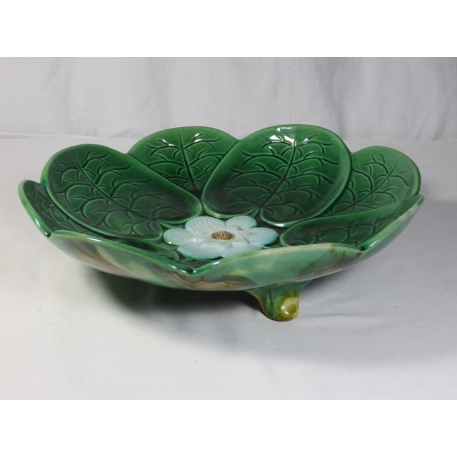 This is a beautiful - large size antique Majolica footed compote - serving bowl - dish. It is rendered in the classic...