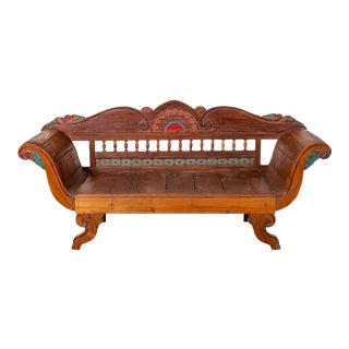 Plantation Javanese Teak Settee with Polychrome Décor and Out-Scrolling Arms For Sale