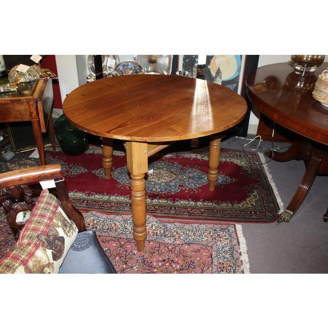 Round Three Legged Pine Side Table - Image 2 of 5