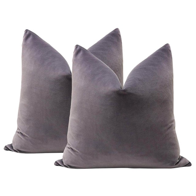 "22"" Smokey Amethyst Velvet Pillows - A Pair For Sale - Image 4 of 4"