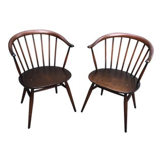 Luciano Ercolani for Ercol England Cowhorn Chairs - a Pair For Sale