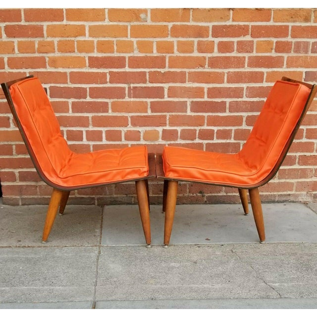 Mid-Century Modern Mid-Century Bentwood Upholstered Carter Brothers Scoop Chairs- A Pair For Sale - Image 3 of 9