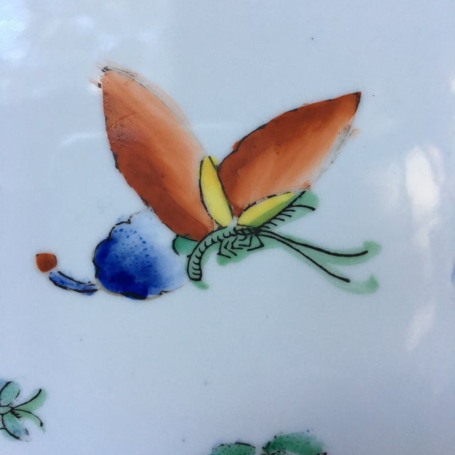 Asian 1980s Vintage Chinese Decorative Porcelain Butterfly Plate For Sale - Image 3 of 10