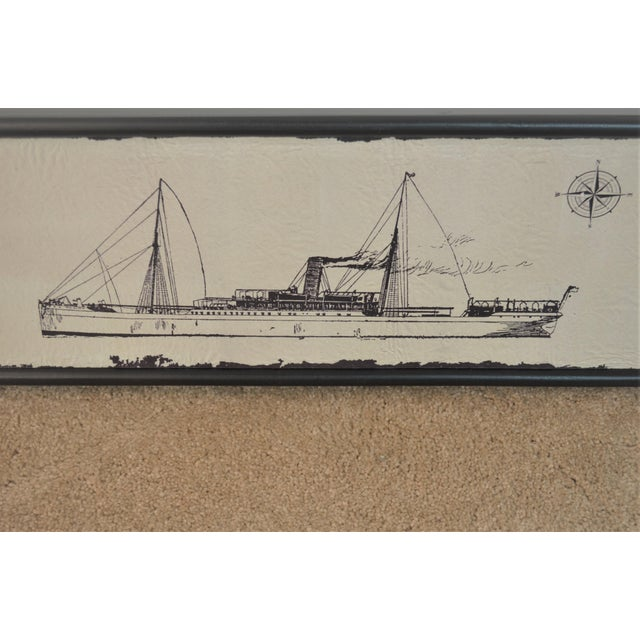 Canvas Wood Steam Ship Wall Art Showroom Sample For Sale - Image 4 of 5