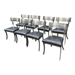 Set of 8 Design Institute America Steel Klismos Dining Chairs For Sale