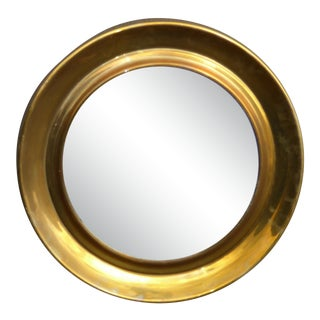 Vintage Mid-Century Modern Round Solid Brass Mirror