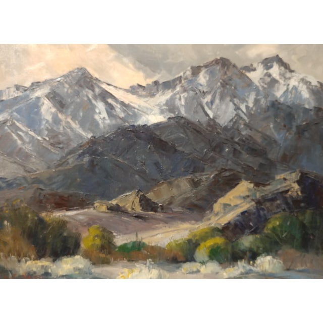 Bennett Bradbury -California Mountain Landscape- Impressionist Oil Painting -C1940s For Sale - Image 4 of 10