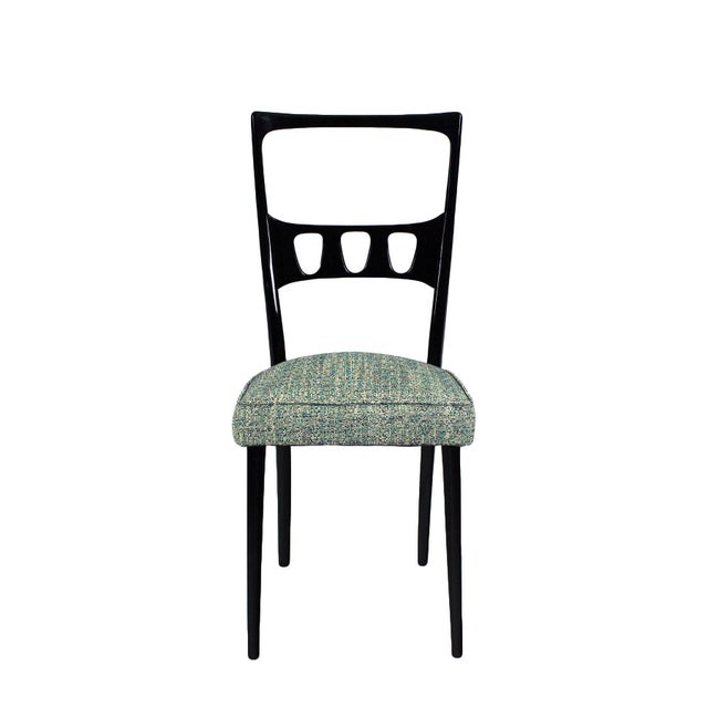 Ravishing pair of chairs, stained and French polished beech. New seat with blue, gray and green variegated fabric. Turin...