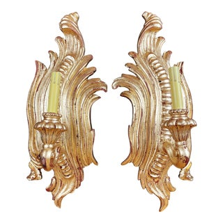1930s Italian Rococo Style Carved Giltwood Electrified Wall Sconces - a Pair For Sale