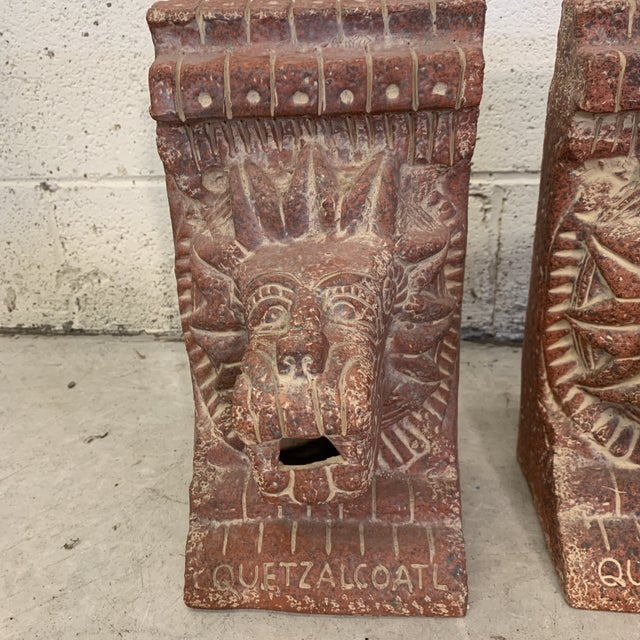1980s Large Terra-Cotta Bookends Quetzalcoatl Pyramid For Sale - Image 5 of 12