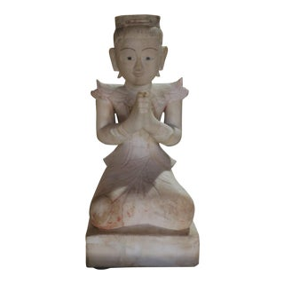 Soapstone Seated Angel Sculpture For Sale