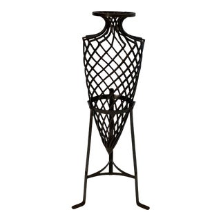 Wrought Iron Grecian Urn on Stand For Sale