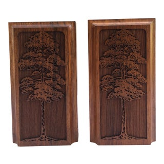 Carved Tree Design Wood Book Ends - a Pair For Sale