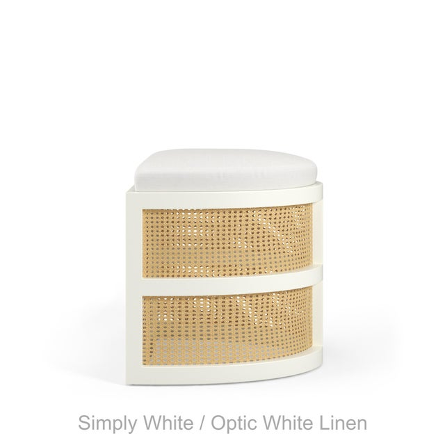 Contemporary Isabella Demi Stool - Coral Dust, Optic White Linen For Sale - Image 3 of 5