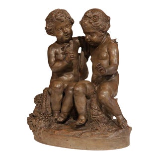 19th Century French Cherubs and Bird Patinated Terracotta Sculpture For Sale