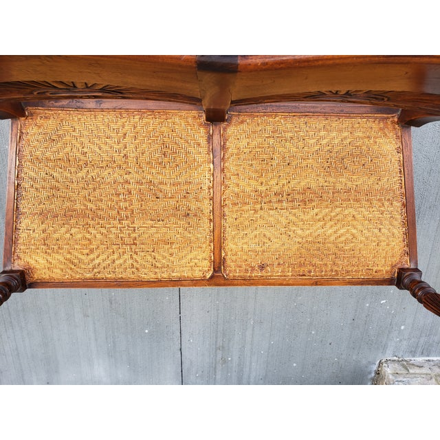 Late 19th Century Antique Carved Wood & Caned Settee For Sale - Image 5 of 13