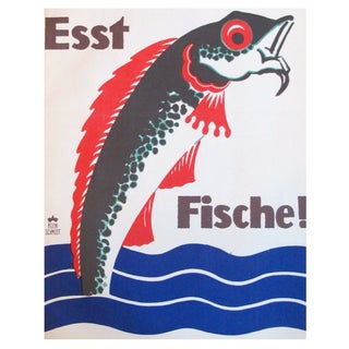 Original 1927 Lithographic Mini Poster of Fish