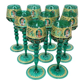 Salviati Murano Wine Glasses Hand Painted W/ Notable Venetian Figures - Set of 9 For Sale