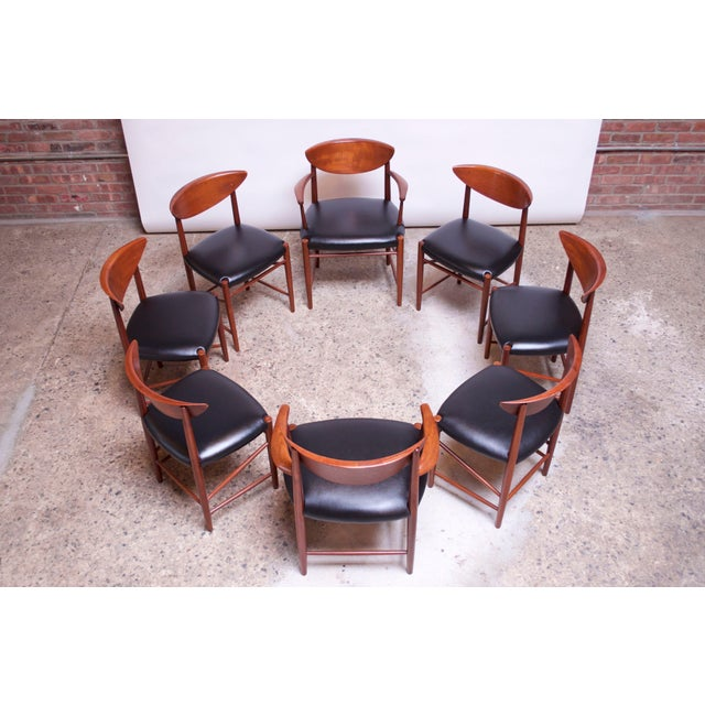 Set of eight dining chairs (Model #316) by Peter Hvidt and Orla Mølgaard Nielsen for Soborg, Denmark, circa 1955-1956. Set...
